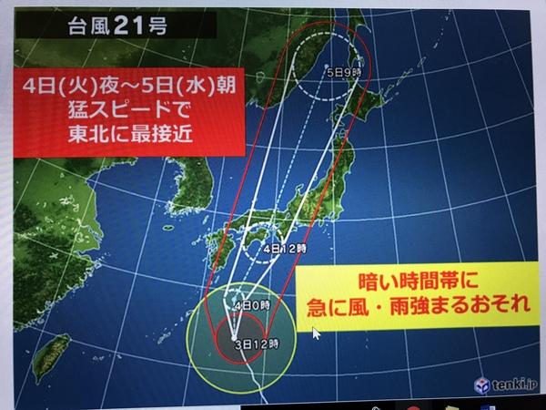 台風21号接近に伴う休園について
